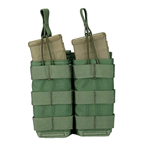 (Modular Universal Double Rifle (AR / M4 / AK47 / G36 / M14 / SMG) Magazine Pouch, Open Top (Shingle) (Olive Drab))