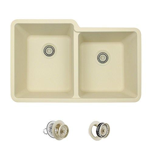 801 Double Offset Bowl Quartz Kitchen Sink, Beige, Strainer/Flange