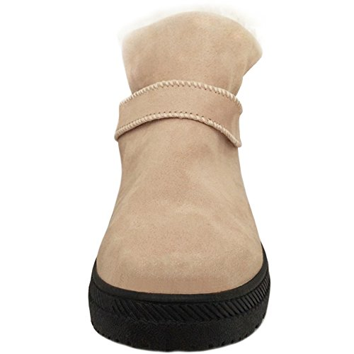 Women Botas Ankle Snow LoaferUp Fully Outdoor Winter Lined Botas Beige 's Short Wool Warm PdTWvwTBq