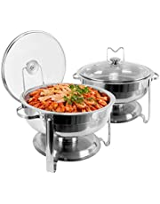 430 Stainless Steel Chafing Dish Buffet Set, 4 Quart Round Buffet Warmer Chafer Set with Lid & Lid Holder For Buffet Weddings Parties Banquets Catering Events