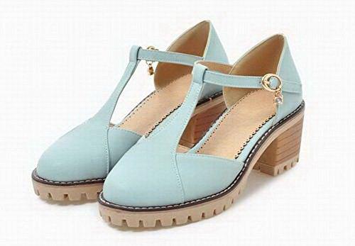 Sandales Bleu Couleur Unie Correct à VogueZone009 Boucle Talon CCAFLP014705 Femme 1qzwS1Rf0