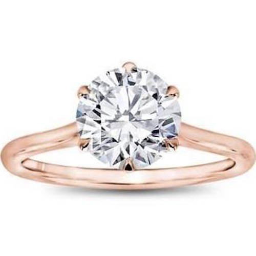 14K Rose Gold CZ Engagement Ring Solitaire 6 Prong Simple Band Setting (2 Carat) Best Quality Cubic Zirconia