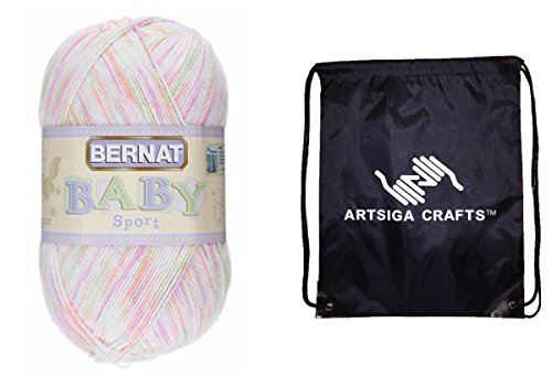 Sport Ombre Yarn (Bernat Baby Sport Big Ball Yarn (1-Pack) Ombres Tiny Tulips 163124-24416 with 1 Artsiga Crafts Project Bag)