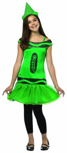 Rasta Imposta Crayola Illuminating Emerald Glitz & Glitter Dress Costume, Green, Tween 10-12