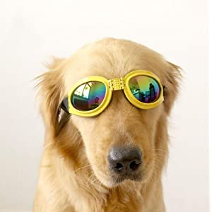 XENO-Pet Dog Goggles UV Sunglasses Sun Glasses Glasses Eye Wear Protection(yellow)
