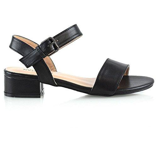 ESSEX GLAM Women Low Heel Shoes Ladies Peeptoe Strappy Buckle Ankle Strap Sandals Size Black Synthetic Leather EHWzvGp0u