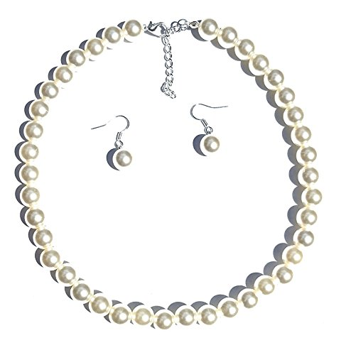 Girl's Pearl Necklace with Earrings (Faux) (White) By Millennium Design