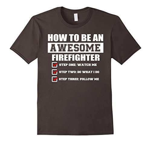 Mens Funny Gift Ideas For Awesome Firefighter T-shirt Large Asphalt