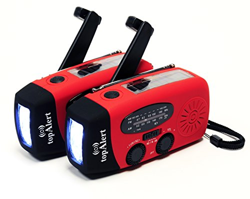 Hand Crank Flashlight Radio (topAlert 2-PACK HY-88WB Emergency Dynamo Solar Self Powered AM/FM/WB(NOAA) Radio, Flashlight, Charger for Cell Phones: iPhone, iPad, iTouch, Android, Smartphone, USB device)