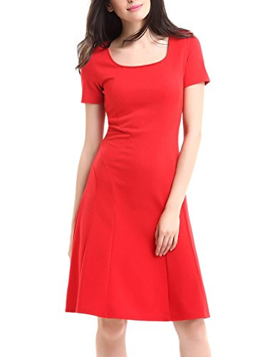 BAIMIL Womens Short Sleeve A-Line Swing Dress Casual Party Dresses Red XL