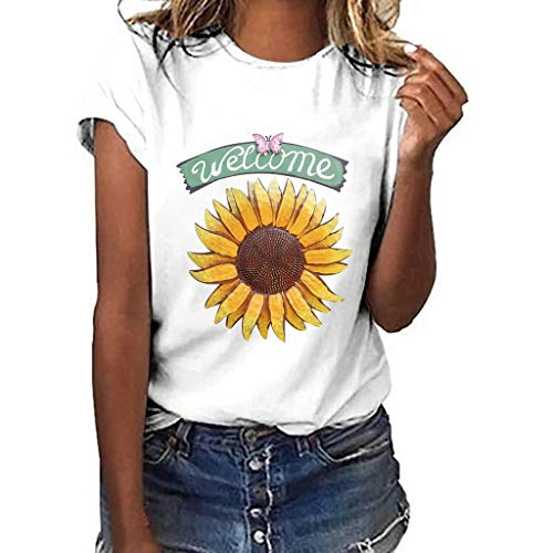 Women T-Shirt Casual Summer Short Sleeve Tee Sunflower Print Loose Fit Blouse Tops (L, White 4) ()