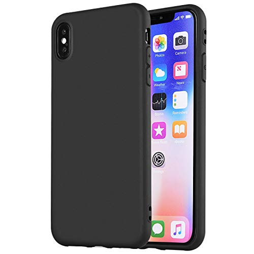 iPhone Xs Max Case,iPhone Xs Plus Case, Manleno Slim Fit Full Matte Skin Case Soft Flexible TPU Silicone Cover Case for iPhone Xs Max 6.5 inch (Matte Black)
