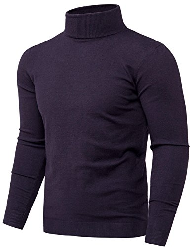 Mens Slim Fit Turtleneck Pullover Sweater (Navy Blue L) ()