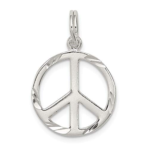 (Solid 925 Sterling Silver Pendant Diamond-Cut Peace Sign Symbol Charm (22mm x 15mm))