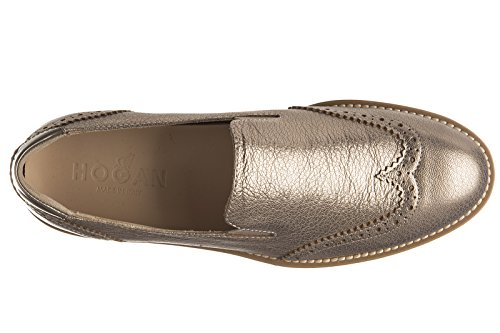 Hogan slip on femme en cuir sneakers route pantofola or