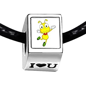 Chicforest Silver Plated Happy Lovely Ant Photo I Love You Charm Beads Fits Pandora Biagi Troll Chamilia Kay's Beads Charms