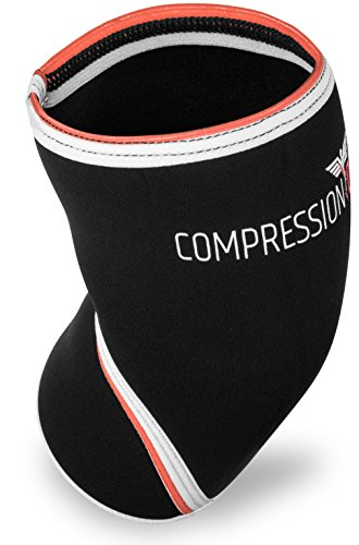 CompressionDR Neoprene Knee Sleeve - 7mm Neoprene Compression Knee Sleeve for Women and Men - Highest Quality Knee Support For Weightlifting, Powerlifting, Squats - Black/Large …