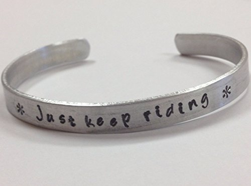 Just Keep Riding - Handstamped Quote Bracelet, equestrian, horse or bicycle riders or motorcycle rider bracelet (Women Motorcycle Jewelry For)