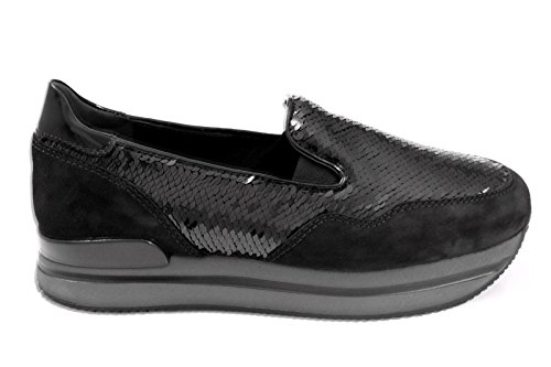 Hogan Slip On Sneakers Donna HXW2220T670DYYB999 Camoscio Nero