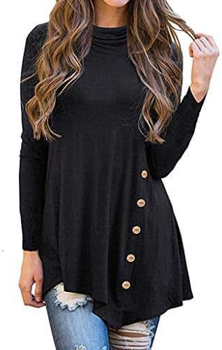 Women's Button Cowl Neck Irregular Long Sleeve Asymmetrical Blouse Tunic Tops