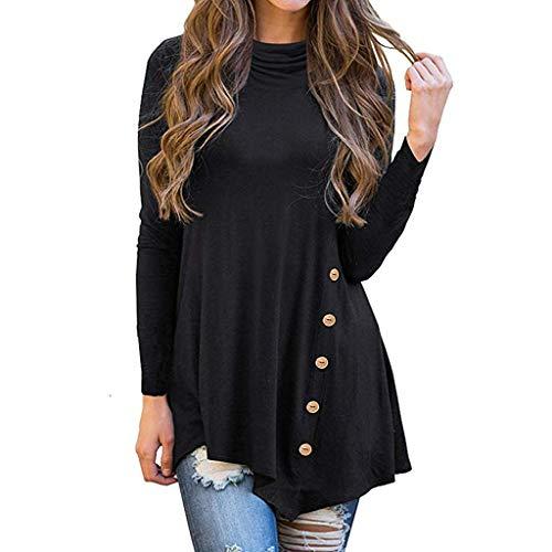ANJUNIE Women's Irregular Cowl Neck Asymmetric Hem Tunic Tops Long Sleeve Button Turtleneck Shirt(Black,L)