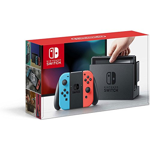 Nintendo Switch - Neon Red and Neon Blue Joy-Con - HAC 001 (Discontinued by Manufacturer) (An Apple A Day Keeps Everyone Away)