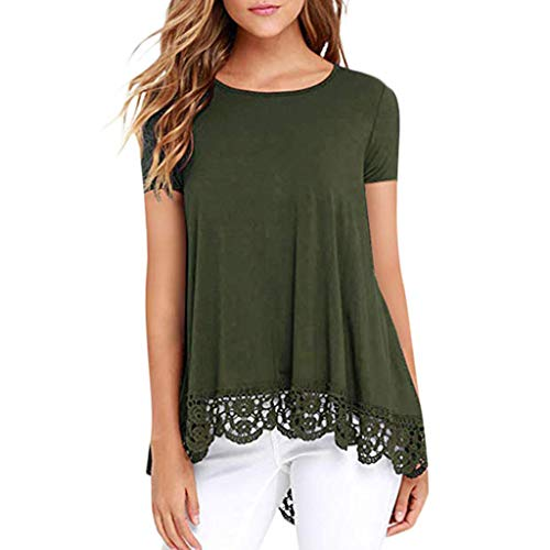 Lace Crop Top Women Casual O-Neck Short Sleeve Loose Lace Patchwork Tops Tunic Blouse Army Green