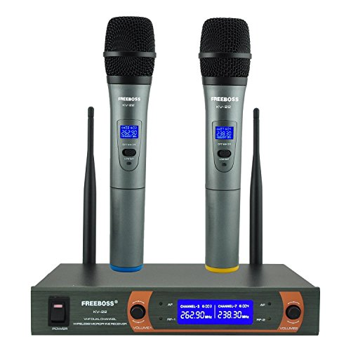 Wireless Microphone System, FREEBOSS KV-22 VHF Dual Channel Handheld Wireless Mic,with Metal Receiver, Ideal for Karaoke, Church, DJ Party
