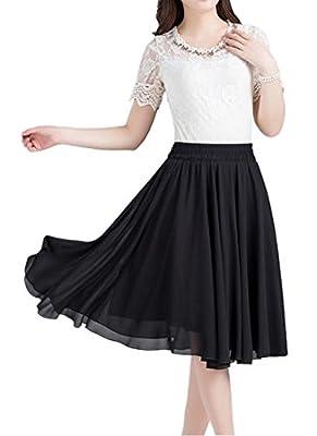 Omelas Women Chiffon Skirt Knee Length Short Full Pleated Skirts A-Line Elastic Waisted