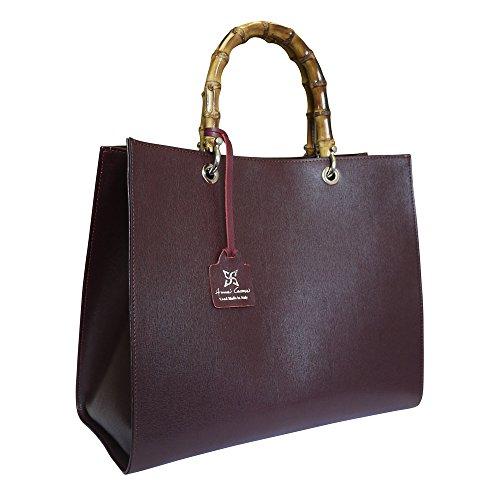 Anna Cecere italiano in pelle Sophia manico di bambù borsa tote bag shopper - prugna marrone