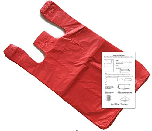 Red 11.5x6x21 T-shirt Bags (100 Pack) with Crafting Insert - Reusable Retail Shopping - Charley Blue
