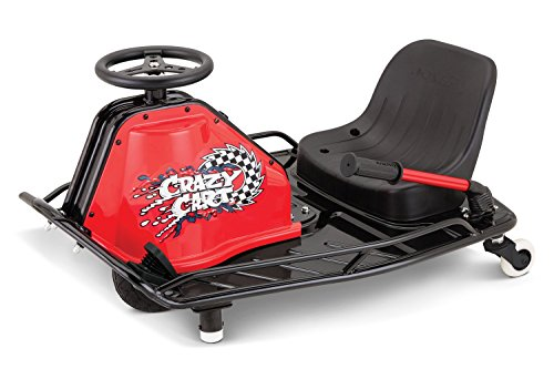Razor Crazy Cart: Drive, spin, or drift like a pro - at home. Drive like a go cart or lift the Drift Bar to kick into Crazy Cart mode. Patented drift system allows the driver to vary the rear caster angle so you can drive and drift forward, b...