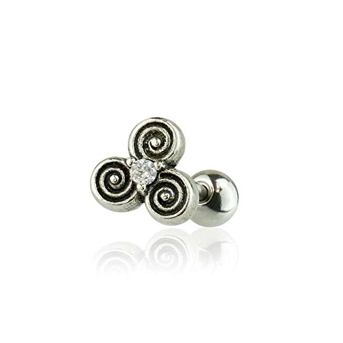 (Dynamique 316L Surgical Steel Cartilage/Tragus Barbell with 925 Sterling Silver CZ Centered Celtic Triple Spiral of Life)