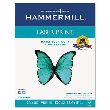 Hammermill Laser Paper - Hammermill Laser Print Office Paper, 98 Brightness, 24Lb, 8-1/2 X 11, White, 500 Sheets/Rm