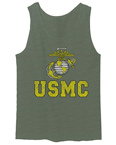 Marines Marine Corps USMC Logo Seal United States America USA American Men's Fitted Tank Top (Olive, Large)