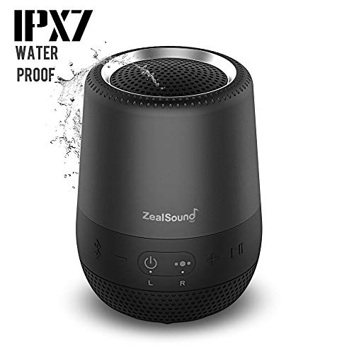 Portable Bluetooth Speaker IPX7 Waterproof, ZealSound 360 Degree Stereo Sound Wireless Speaker, Super-Portable TWS Wireless, Loud Stereo Sound, Enhanced Bass, Built-in Mic,24 Hours Playtime (Black)