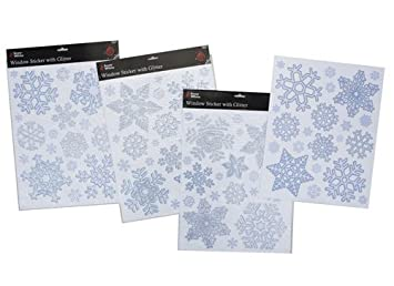 Amazoncom Pms Christmas Silver And Blue Glittery Snowflake - Snowflake window stickers amazon