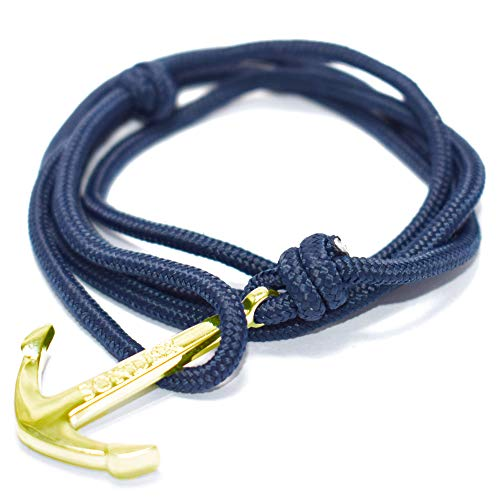 SONDER Anchor Bracelet Fully Adjustable Engraved Rope Bracelet Punk Fashion Accessory with Stainless Steel Finish Nautical Anchor on Paracord Nylon Weave (Royal with a Navy Rope)