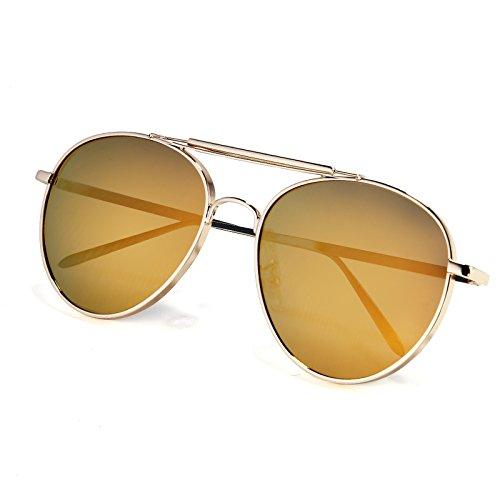 de color reflejando Gafas Gafas marco de Moda mujeres agua las prueba sol KOMNY sol macho sol gafas de gafas de polarizadas de de UV polvo dorado en Gold a de Film Frame película rayos Gold twUqO7