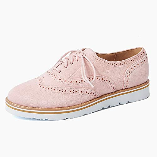 (Wonvatu Women's Platform Lace-Up Oxfords Shoes Casual Wingtip Brogue Loafers Leather Perforated Dress Shoes)
