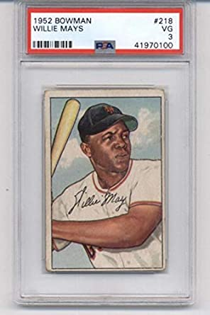 Amazoncom 1952 Bowman 218 Willie Mays Ny Giants Mlb Baseball