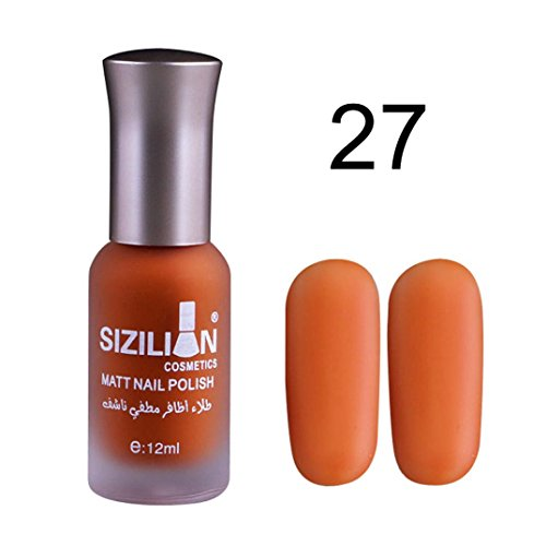 Lisin 12ml Matte Dull Nail Polish Fast Dry Long Lasting Nail Art Matte Nail Polish Gel (Orange 27)