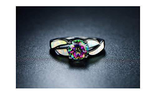Rhodium Plated Brass Ring - Barzel Black Rhodium Plated Brass Created Opal & Mystic Topaz Ring (7)