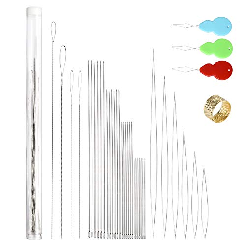38 Pcs Beading Needles with Needle Bottle, Seed Beads Needles Stainless Steel Beading Needle Long Straight Beading Thread Needles Embroidery Big Eye Collapsible Beading Needles for Jewelry Making (14