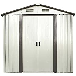 Doitpower 6' x 4' Outdoor Steel Garden Storage Utility Tool Shed large Storage Space 131 Cubic Feet White