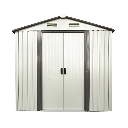 Doitpower 6' x 4' Outdoor Steel Garden Storage Utility Tool Shed large Storage Space 131 Cubic Feet - Sheds Storage Small Outdoor