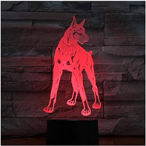 Halloween Animal Hound Dog 3D Lampe Illusion Nachtlicht RGB LED Birne Multicolor Flash Lampara Nacht Haustier Deutsch…