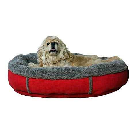 Carolina Pet 014560 F Faux Suede & Tipped Berber Round Orthopedic Foam Comfy Cup Bed - Red44; Medium