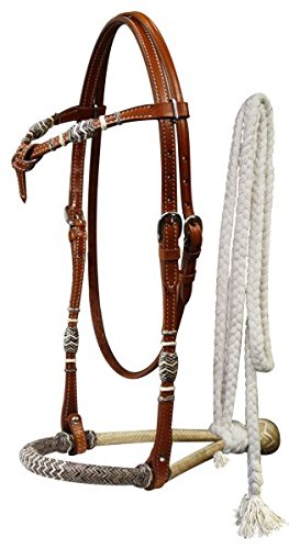 Rawhide Futurity - Showman Horse Rawhide Bosal Futurity Bridle Headstall with a Cotton Mecate Rein (Medium Oil)