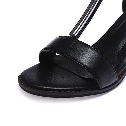 AllhqFashion Mujeres Material Suave Cremallera Puntera Abierta Tacón ancho Sólido Sandalia Negro